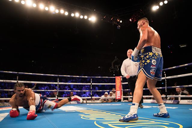 David Haye on the canvas after being knocked down by Tony Bellew in May. (Getty)
