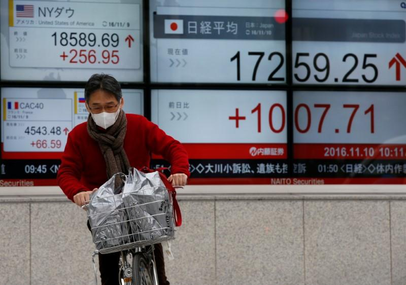 Man cycles in front of electronic boards showing Japan's Nikkei average and the Dow Jones average outside a brokerage in Tokyo