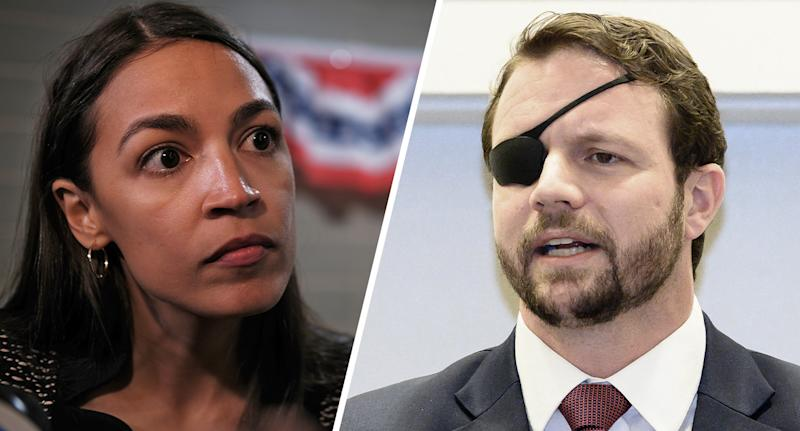 Reps. Alexandria Ocasio-Cortez. D-N.Y., and Dan Crenshaw, R-Texas.(Photos: Spencer Platt/Getty Images, Michael Brochstein/SOPA Images/LightRocket via Getty Images)