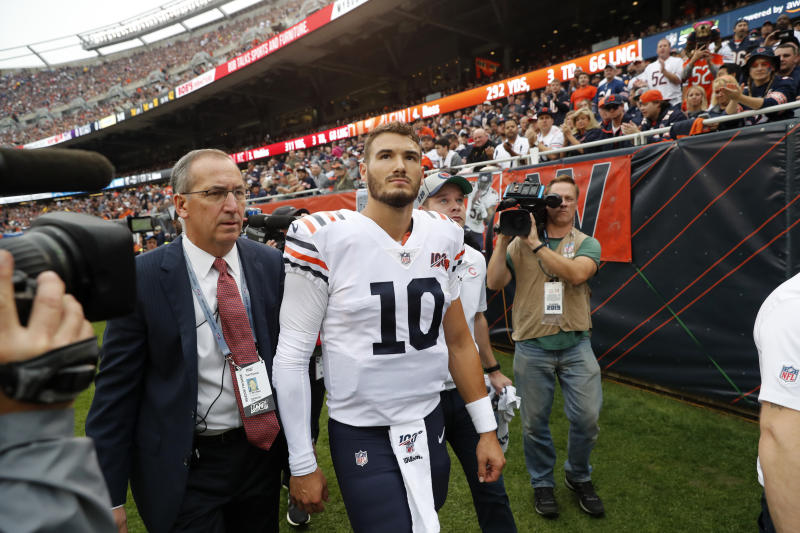 FILE - In this Sunday, Sept. 29, 2019, file photo, Chicago Bears quarterback Mitchell Trubisky walks to the locker room after being injured during the half of an NFL football game against the Minnesota Vikings, in Chicago. The Bears envisioned Trubisky showing why he was drafted with the No. 2 overall pick in 2017 and a more dynamic offense helping take the load off one of the NFLs best defenses in coach Matt Nagys second season. So far, its not happening. (AP Photo/Charles Rex Arbogast, File)