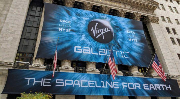 Virgin Galactic (SPCE) banner hanging on the New York Stock Exchange building to celebrate its IPO.