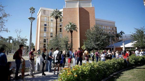 PHOTO: People line up to vote at the ASU Palo Verde West polling station during the U.S. midterm elections in Tempe, Arizona, Nov. 6, 2018. (Lindsey Wasson/Reuters)