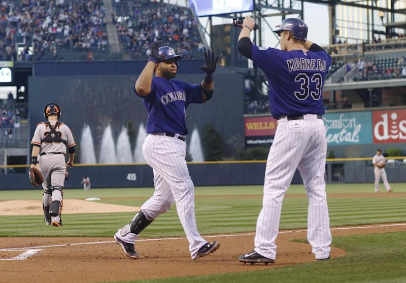 Colorado Rockies' Wilin Rosario, front left, is congratulated by teammate Justin Morneau, front right, after Rosario hit a three-run home run against the San Francisco Giants in the first inning of a baseball game in Denver on Monday, April 21, 2014. Giants catcher Buster Posey, left, heads to the mound to talk to starting pitcher Ryan Vogelsong. (AP Photo/David Zalubowski)