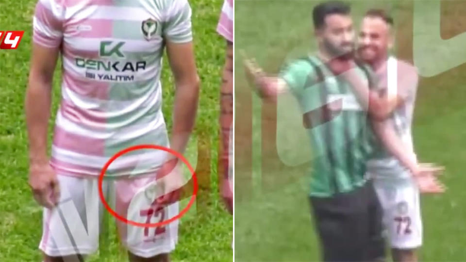 Video footage appears to show the blade in Calar's hand. Image: Yeni Safak Spor
