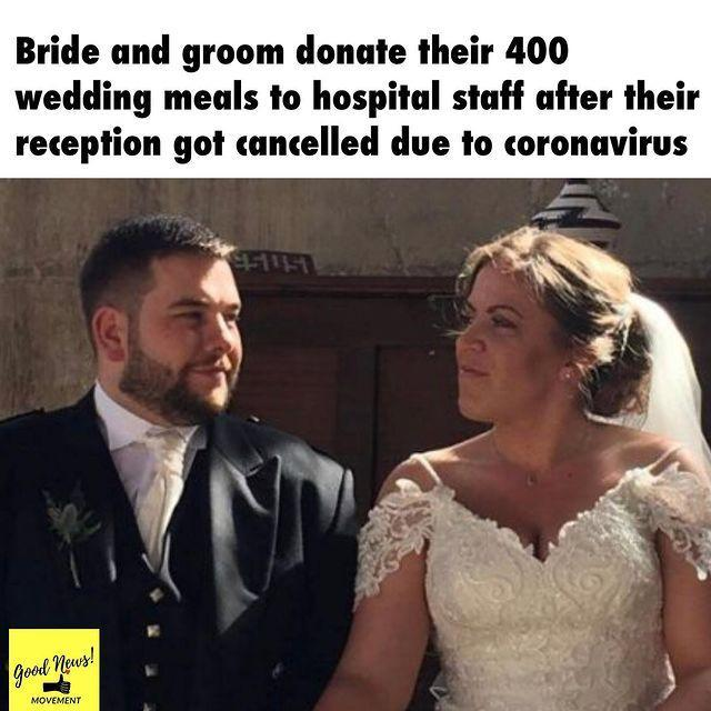"<p>The Coronavirus social distancing measures have meant many <a href=""https://www.elle.com/uk/life-and-culture/culture/a31736044/coronavirus-wedding/"" rel=""nofollow noopener"" target=""_blank"" data-ylk=""slk:planned weddings have now been postponed."" class=""link rapid-noclick-resp"">planned weddings have now been postponed.</a></p><p>One couple from East Yorkshire, were scheduled to marry last weekend. When the reception was called off, they chose to divert all of their catering to more than 400 hospital workers in Hull instead, reports the <a href=""https://www.independent.co.uk/life-style/coronavirus-wedding-cancelled-couple-nhs-food-donate-covid19-a9423481.html"" rel=""nofollow noopener"" target=""_blank"" data-ylk=""slk:Independent"" class=""link rapid-noclick-resp"">Independent</a>.</p><p>The couple also did marry, with two witnesses instead of their planned 120 guests.</p><p><a href=""https://www.instagram.com/p/B-NxN0HAevB/"" rel=""nofollow noopener"" target=""_blank"" data-ylk=""slk:See the original post on Instagram"" class=""link rapid-noclick-resp"">See the original post on Instagram</a></p>"