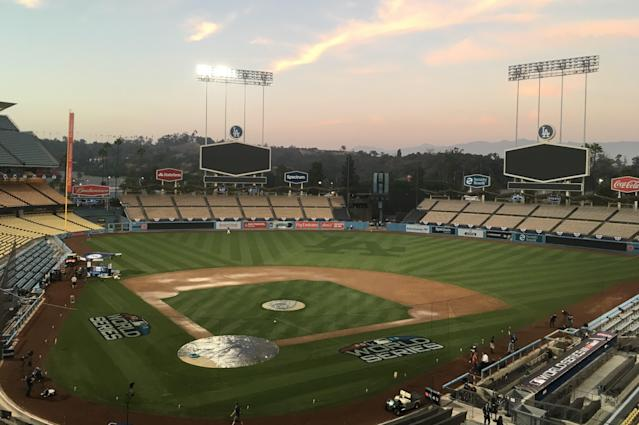 Dodger Stadium viewed on Thursday, Oct., 25, 2018, a day ahead of World Series Game 3 between the Los Angeles Dodgers and the Boston Red Sox. The Series shifted scene after the Red Sox took a 2-0 lead in the cold of Boston's Fenway Park. (AP Photo/Ron Blum)