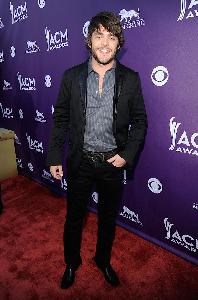 "<p class=""MsoNormal"">Newcomer and ""Something to Do With My Hands"" singer Thomas Rhett, son of Songwriter of the Year nominee Rhett Akins, was casual cool in his black jeans and jacket.</p>"