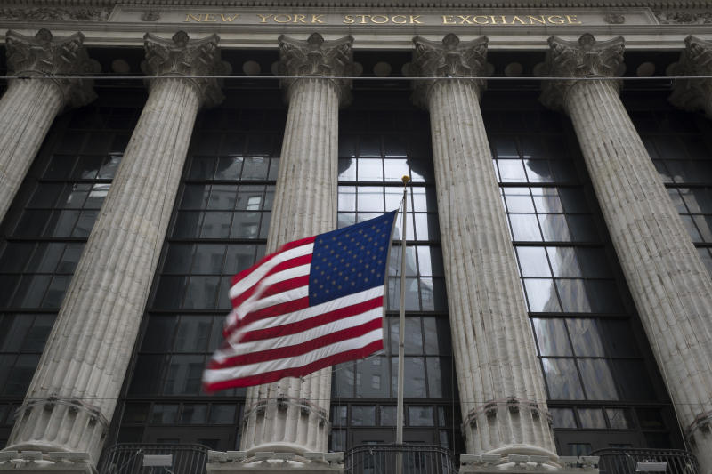 <p>FILE- In this April 24, 2018, file photo, an American flag flies outside the New York Stock Exchange. The U.S. stock market opens at 9:30 a.m. EDT on Wednesday, Aug 8. (AP Photo/Mary Altaffer, File) </p>