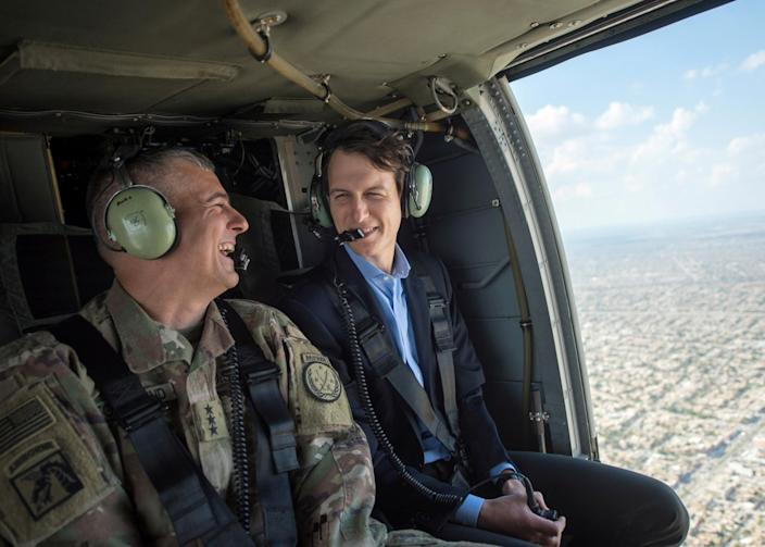 Jared Kushner, right, during a helicopter transit over Baghdad on Monday. (Photo: Navy Petty Officer 2nd Class Dominique A. Pineiro/DoD/Handout via Reuters)