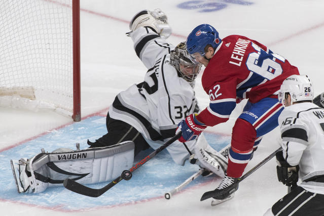 Montreal Canadiens' Artturi Lehkonen moves in on Los Angeles Kings goaltender Jonathan Quick during the third period of an NHL hockey game Saturday, Nov. 9, 2019, in Montreal. (Graham Hughes/The Canadian Press via AP)