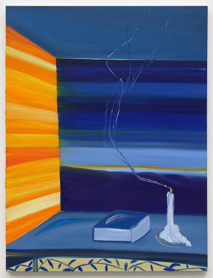 "<div class=""caption""> <em>Blue Smoke</em> by Matthew Wong, 2018 oil on canvas, 48 × 36 inches. </div> <cite class=""credit"">Photo: Courtesy of the Artist's Estate and Karma, New York</cite>"