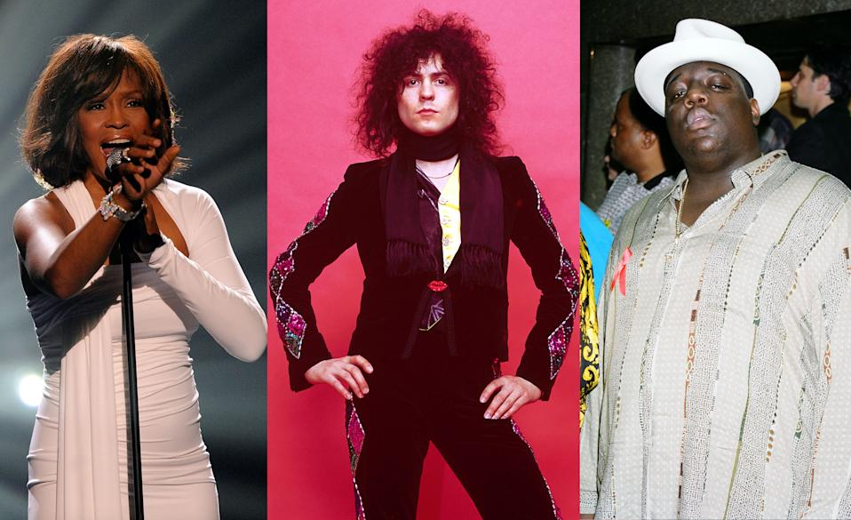 Whitney Houston, T. Rex's Marc Bolan, and the Notorious B.I.G. were posthumously inducted into the Rock & Roll Hall of Fame at 2020's virtual ceremony. (Photos; Getty Images)