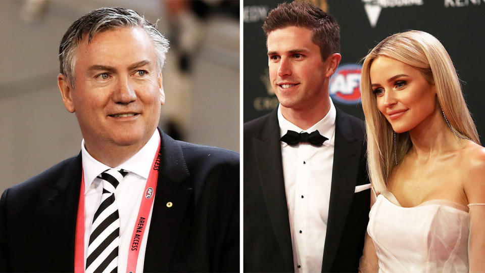 Collingwood president Eddie McGuire (pictured left) smiling and Marc Murphy and Jessie Murphy at the Brownlow Medal in 2019.