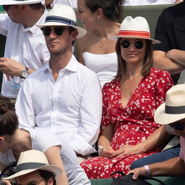 Pippa Middleton and James Matthews wear his-and-hers straw fedoras at the French Open.