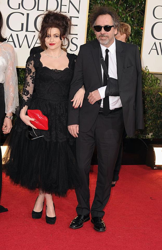 Helena Bonham Carter and Tim Burton arrive at the 70th Annual Golden Globe Awards at the Beverly Hilton in Beverly Hills, CA on January 13, 2013.