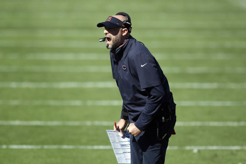 Chicago Bears head coach Matt Nagy yells during the first half of an NFL football game against the Carolina Panthers in Charlotte, N.C., Sunday, Oct. 18, 2020. (AP Photo/Mike McCarn)