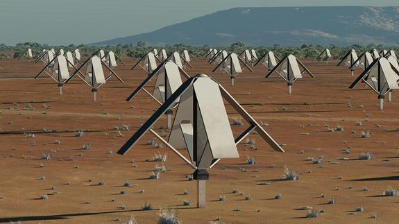 An artist's impression of the SKA's low frequency antennas that will be located in Australia.