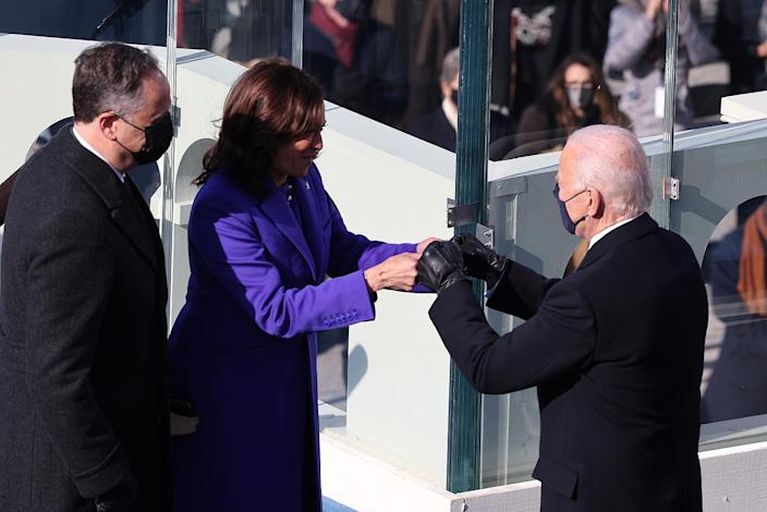 <p>President Biden and Vice President Harris greet each other at their Jan. 20 inauguration. </p>