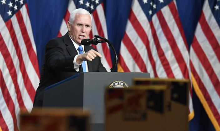 Vice President Mike Pence speaks on the first day of the Republican National Convention at the Charlotte Convention Center on August 24, 2020 in Charlotte, North Carolina. (David T. Foster III-Pool/Getty Images)