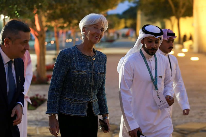 FILE PHOTO: European Central Bank President Christine Lagarde arrives for a welcome dinner at Saudi Arabia's Murabba Palace, during the G20 meeting of finance ministers and central bank governors