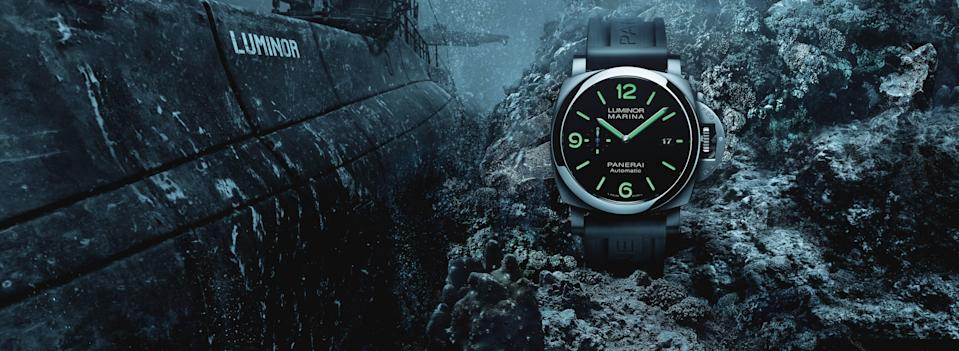 """<p>wempe.com</p><p><strong>$14900.00</strong></p><p><a href=""""https://www.wempe.com/en-us/watches/panerai/luminor/tuttonero-luminor-gmt-44-mm-pam-01438?c=6164"""" rel=""""nofollow noopener"""" target=""""_blank"""" data-ylk=""""slk:Shop Now"""" class=""""link rapid-noclick-resp"""">Shop Now</a></p><p>Another all-black model that goes with everything, but Panerai's version aims for high visibility at night and in bad lighting, making it practical and polished.</p><p>Case size: 44mm</p>"""