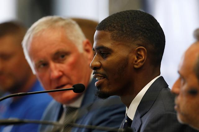 Boxing - Terry Flanagan & Maurice Hooker Press Conference - Crowne Plaza, Manchester, Britain - June 7, 2018 Maurice Hooker during the press conference Action Images via Reuters/Craig Brough