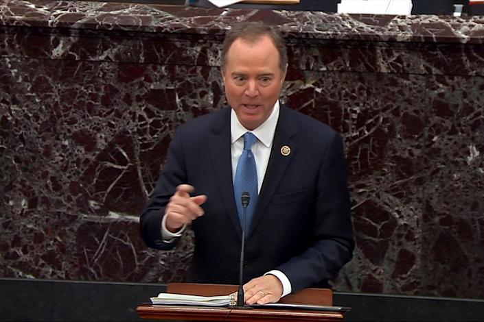House Intelligence Committee Chairman Adam Schiff (D-Calif.), one of the House managers at the Senate trial on impeachment articles against President Donald Trump, speaks Thursday during the third day of the trial at the U.S. Capitol. (Photo: Senate TV via Reuters)