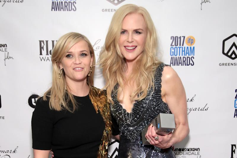 Reese Witherspoon and Nicole Kidman pose backstage during IFP's 27th Annual Gotham Independent Film Awards. (Photo by Cindy Ord/Getty Images for IFP)