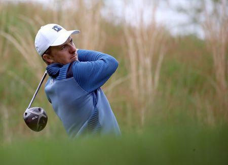 FILE PHOTO: May 14, 2019; Farmingdale, NY, USA; Jordan Spieth plays his shot from the fourth tee during a practice round for the PGA Championship golf tournament at Bethpage State Park - Black Course. Mandatory Credit: Peter Casey-USA TODAY Sports