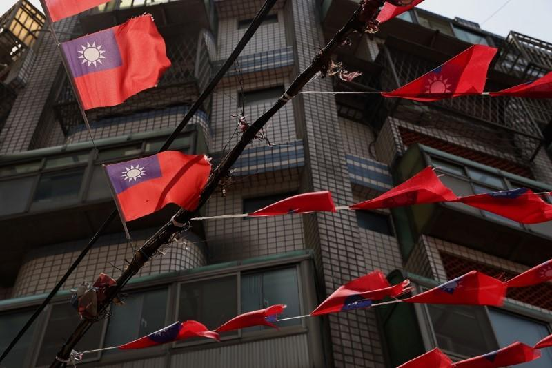 Taiwan flags hang above the streets in Taoyuan