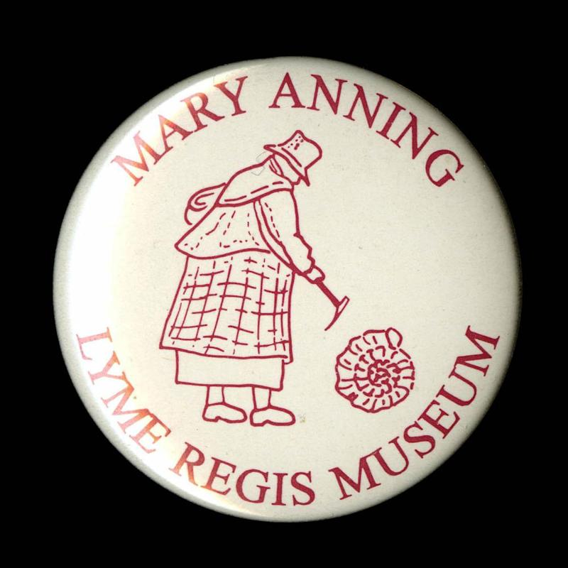 A souvenir badge from Dorset bearing the name of the female geologist Mary Anning.