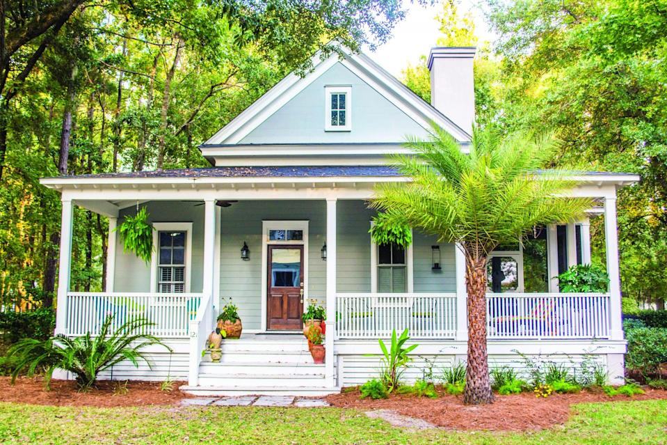 """<p>Here's a cottage brimming with Southern charm. Banning Court's gracious front porch delivers major curb appeal. With its classic architectural style, this home could fit into Lowcountry settings or suburban neighborhoods. The straightforward one-story plan makes room for coveted amenities like a home office and cozy screened porch.</p> <p>Two bedrooms, two baths</p> <p>1,286 square feet</p> <p>See plan: <a href=""""https://houseplans.southernliving.com/plans/SL1254?index=17&search%5Bbedrooms%5D%5B%5D=2&search%5Bplan%5D=&search%5Bsort%5D=&search%5Butf8%5D=✓"""" rel=""""nofollow noopener"""" target=""""_blank"""" data-ylk=""""slk:Banning Court (SL-1254)"""" class=""""link rapid-noclick-resp"""">Banning Court (SL-1254) </a></p>"""