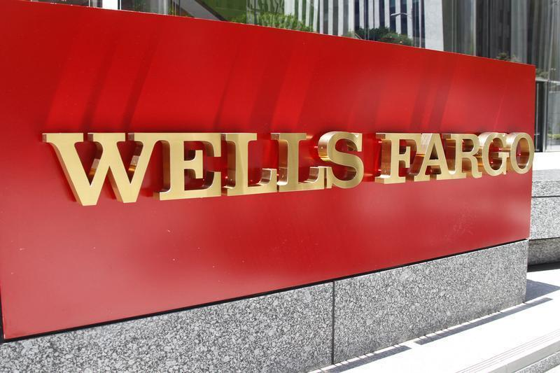The logo for Wells Fargo bank is pictured in downtown Los Angeles