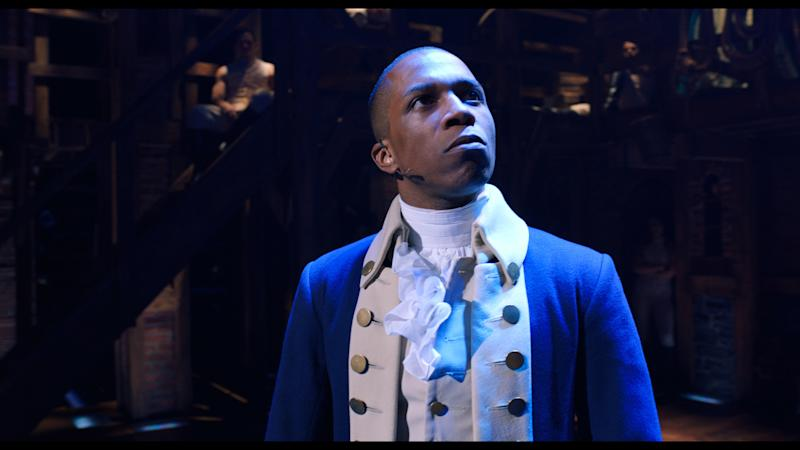 Leslie Odom, Jr. is Aaron Burr in HAMILTON, the filmed version of the original Broadway production. (Disney+)