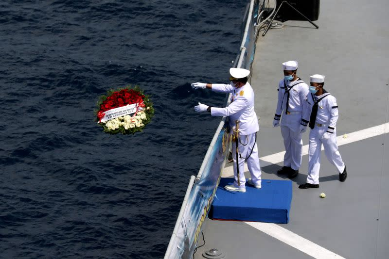 Families and colleagues of KRI Nanggala-402 crew pay tribute at the site of its last reported dive