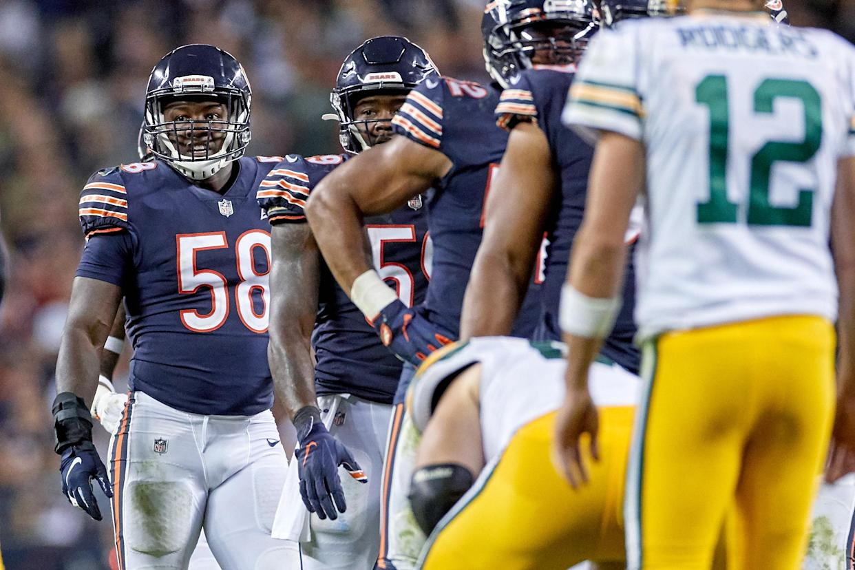 The Bears at linebacker Rocker Smith, 58, pictured in the home opener against the Packers, were scratched by the starting line-up on Sunday as they defeated NFC North rival Vikings. (Getty Images)