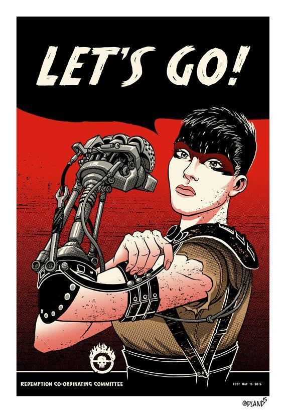 It's Rosie the Riveter vs. Imperator Furiosa in this too-perfect blend by Tim Odland, which is available for purchase. [source]