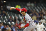 St. Louis Cardinals starting pitcher Miles Mikolas throws to the Milwaukee Brewers during the first inning of a baseball game Wednesday, Sept. 22, 2021, in Milwaukee. (AP Photo/Jeffrey Phelps)