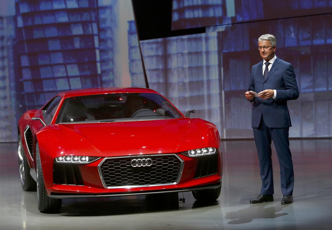 "Audi CEO, Rupert Stadler presents the new ""Audi Nanuk"" at the Volkswagen group night at the Frankfurt motor show September 9, 2013. The world's biggest auto show is open to the public September 14 -22. REUTERS/Ralph Orlowski (GERMANY - Tags: BUSINESS TRANSPORT)"