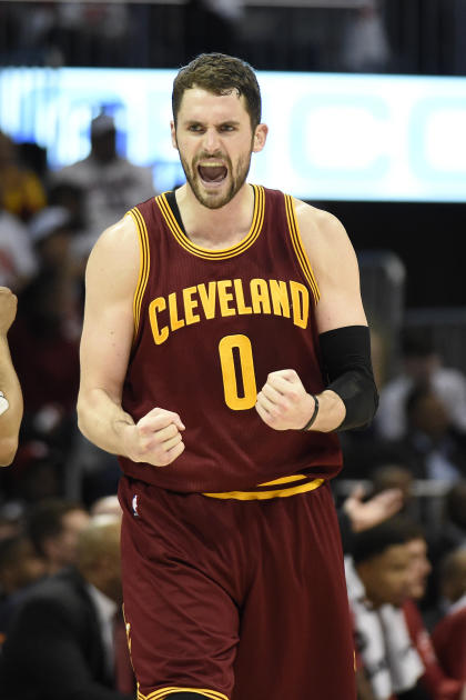 Mar 6, 2015; Atlanta, GA, USA; Cleveland Cavaliers forward Kevin Love (0) reacts from the court against the Atlanta Hawks during the second half at Philips Arena. The Hawks won 106-97. (Dale Zanine-USA TODAY Sports)