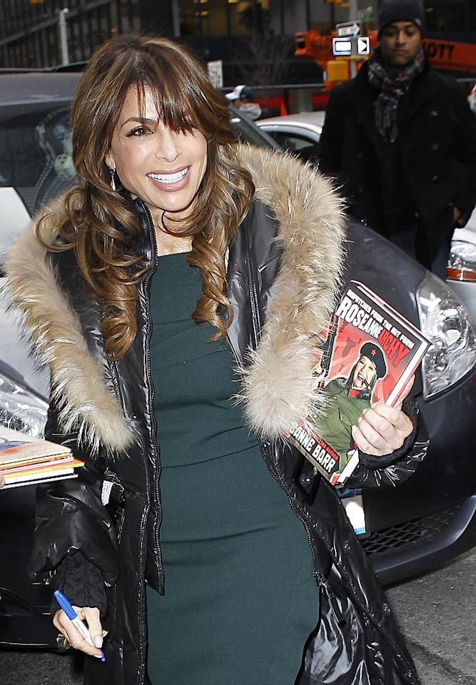 "Former ""American Idol"" judge Paula Abdul carried around a copy of Roseanne Barr's new tome, <i>Roseannearchy</i>, during a day of press to hype her new CBS reality competition, ""Live to Dance,"" which premieres at 8 p.m. ET/PT Tuesday. <a href=""http://www.infdaily.com"" target=""new"">INFDaily.com</a> - January 4, 2011"