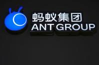 A sign of Ant Group is seen during the World Internet Conference (WIC) in Wuzhen