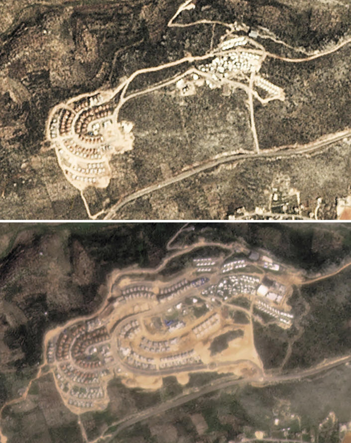This combination of satellite images provided by Planet Labs Inc. shows the growth of the West Bank Jewish settlement of Bruchin on March 6, 2017, top, and March 6, 2021. The satellite images and data obtained by the AP document for the first time the full impact of the pro-settlement policies of then-President Donald Trump. (Planet Labs Inc. via AP)