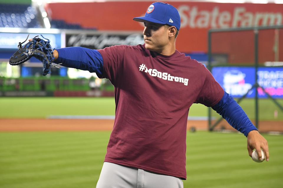 Anthony Rizzo and his Cubs teammates wore Stoneman Douglas High School shirts during warm-ups on Thursday, and Rizzo didn't mince words when talking about the aftermath of the shooting. (Getty Images)