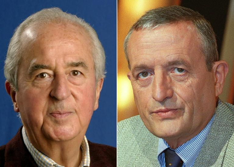 Former French prime minister Edouard Balladur (L) and former defence minister Francois Leotard were charged in 2017 (AFP Photo/JEAN-PIERRE MULLER, MARC LE CHELARD)