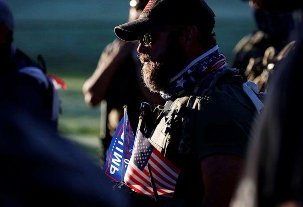 PHOTO: Far-right activist and self-described militia members gather for a rally on the day of the Kentucky Derby horse race in Louisville, KY., Sept. 5, 2020. (Jim Urquhart/Reuters)