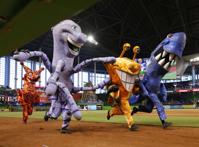 The Marlins mascot race reportedly made David Samson angry one time. (AP Photo/Wilfredo Lee)