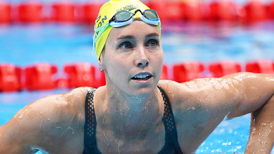 Emma McKeon will race for gold on the 100m freestyle final on day seven of the Tokyo Olympics. (Photo by JONATHAN NACKSTRAND/AFP via Getty Images)