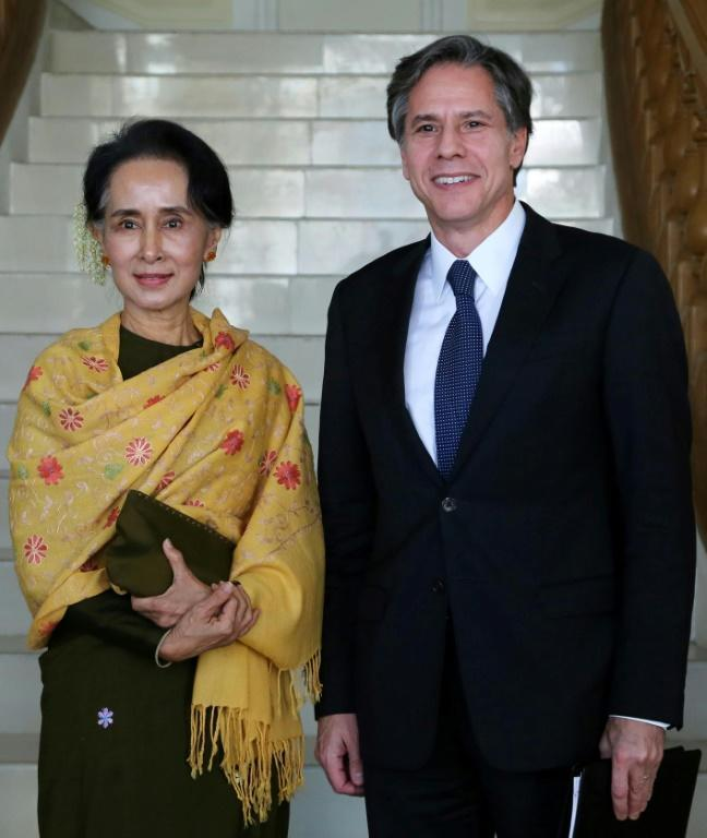 Antony Blinken, then the deputy secretary of state meets Myanmar's democracy leader Aung San Suu Kyi in January 2016