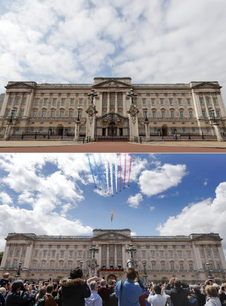 A combo of images showing the Red Arrows flying over Buckingham Palace during the annual Trooping the Colour Ceremony in London on Saturday, June 8, 2019 and the the empty scene taken from the same angle on Wednesday, April 1, 2020. When Associated Press photographer Frank Augstein moved to London in 2015, what struck him most was the crowds. Augstein, who grew up in a small town in western Germany, thought Britain's capital of almost 9 million people was the busiest place he had ever seen. In years of covering political dramas, moments of celebration and tragedy and major sporting events, Augstein's photographs have captured the city's ceaseless movement: Pedestrians swarming over the Millennium footbridge spanning the River Thames. Travelers from the U.K. and continental Europe thronging St. Pancras railway station. Commuters following London transit etiquette by carefully ignoring one another on a crowded Tube train, or waiting patiently in a snaking bus queue. Augstein revisited those sites in recent days after Britain — like other countries around the world — went into effective lockdown to stem the spread of the new coronavirus. More than 4,300 people with the virus in Britain have died, and health officials warning the peak of the outbreak is still days or weeks away. (AP Photo/Frank Augstein)